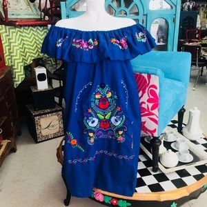 Mexican Traditional Embroidered Dress Plus Size